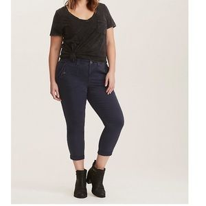 Torrid cropped twill military pant-navy wash